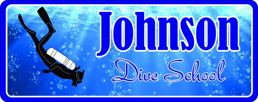 Custom Dive School Sign with Underwater Scene