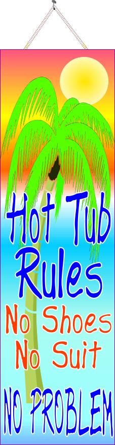 Neon Hot Tub Rules Sign with Palm Tree