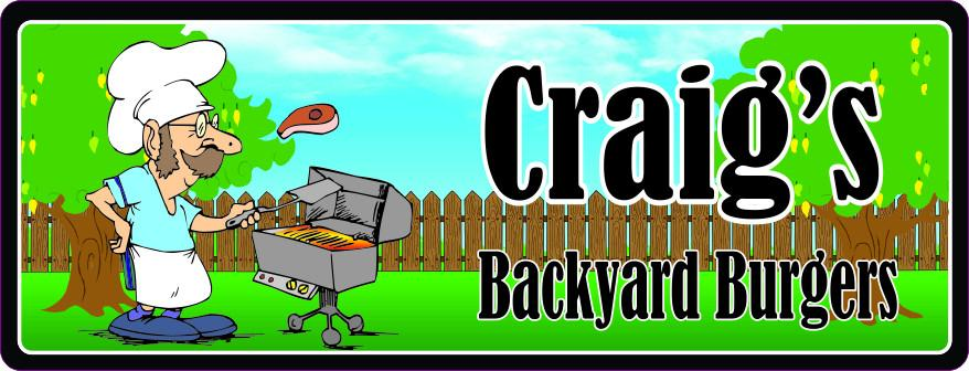 Backyard Burgers Personalized BBQ Sign with Grilling Mustached Man Wearing Chef Hat & Apron