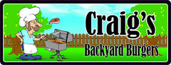 Backyard BBQ Sign with Mustached Man & Grill