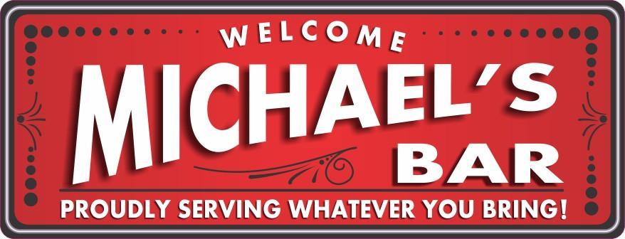 Retro Bar Sign in Red with Classic Flourishes & Dot Border