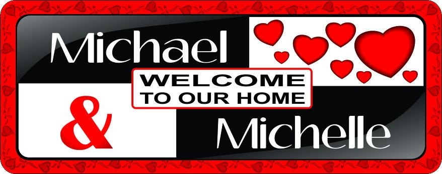 Red & Black Personalized Welcome Sign with Hearts for Couples & Newlyweds