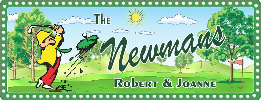 Green Golf Sign with Cartoon Golfer
