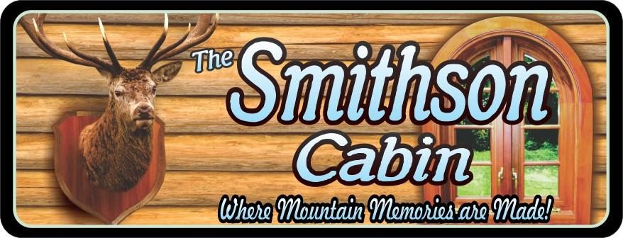 Deer Head Personalized Cabin Sign with Log Cabin Wall
