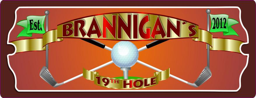 19th Hole Personalized Golf Sign with Established Date & Golf Clubs