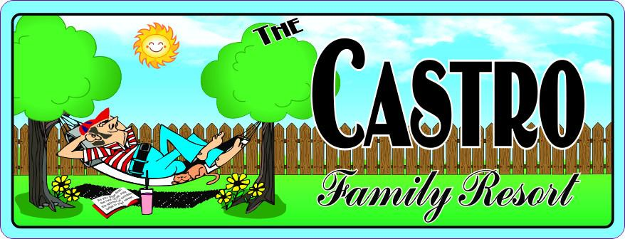 Family Resort Custom Outdoor Sign with Backyard & Man in Hammock