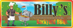 Biker Barbecue Personalized Sign with Grilling Biker