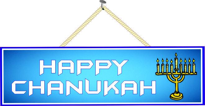 Blue Happy Chanukah Sign with Gold Menorah
