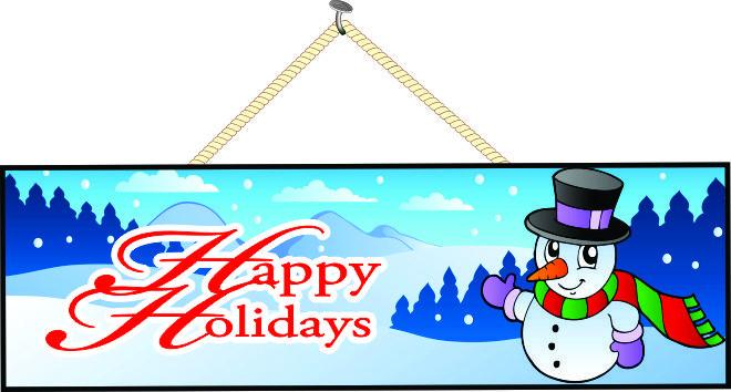 Happy Holidays Sign with Smiling Snowman in Red & Green Scarf