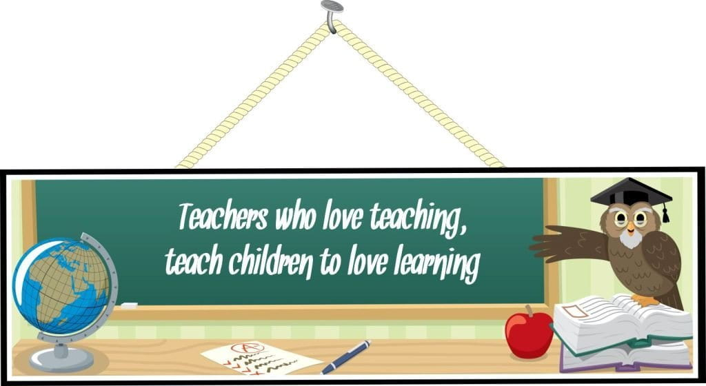 Green Chalkboard School Sign with Teacher Quote