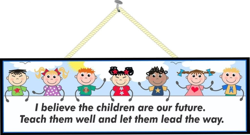 Children Are Our Future Teacher Quote Sign with Stick Figure Kids