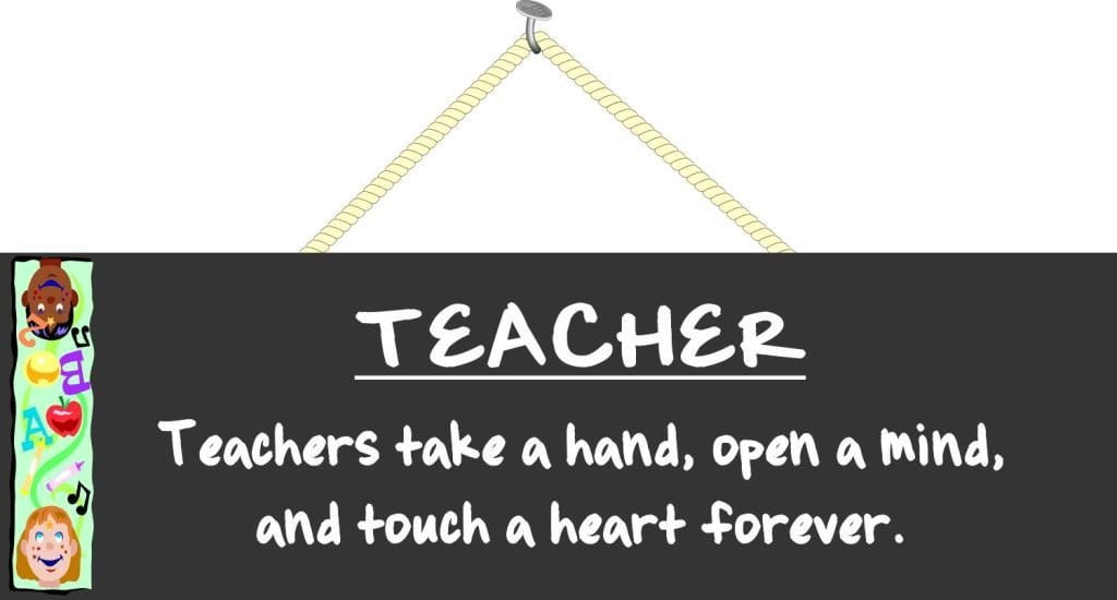 Teachers Take a Hand & Touch a Heart School Sign with Blackboard & Cute Kids