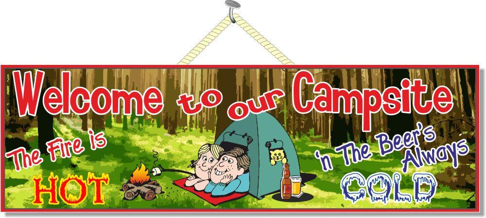 Hot Fire Cold Beer Campsite Welcome Sign with Tent, Campfire & Couple