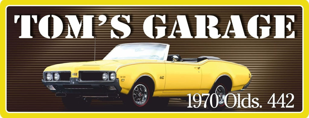 1970 Oldsmobile Yellow Convertible 442 Classic Car Personalized Sign