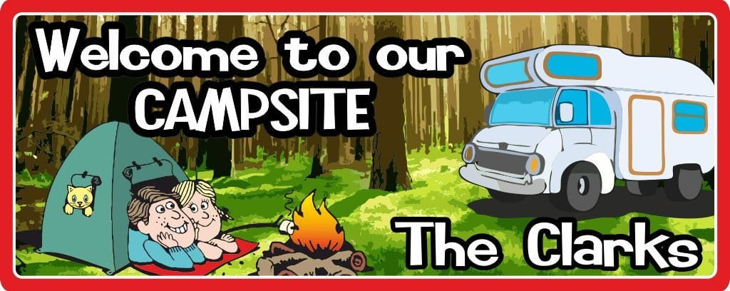 Welcome to Our Campsite Personalized Sign with Tent & RV