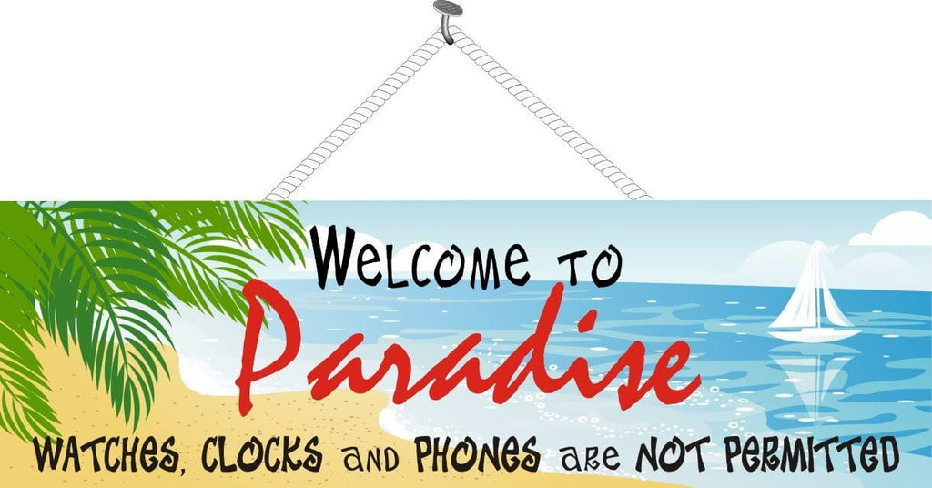 Tropical Paradise Welcome Sign with Sailboat