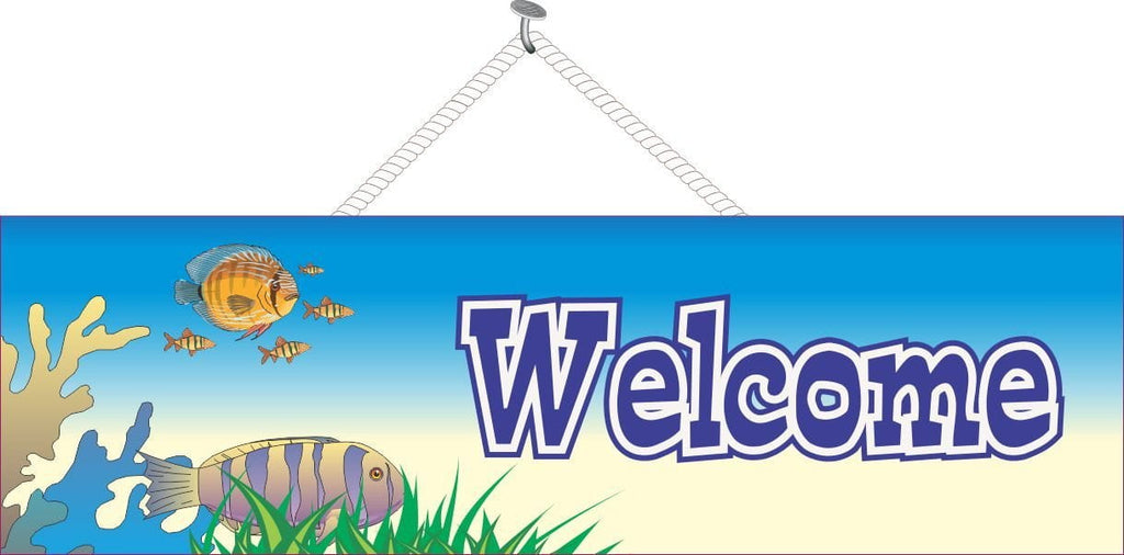 Coral & Fish Welcome Sign in Blue