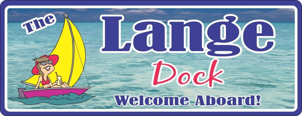Ocean Personalized Dock Sign with Cartoon Woman in Sailboat