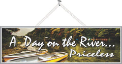 Priceless River Sign with Row Boats