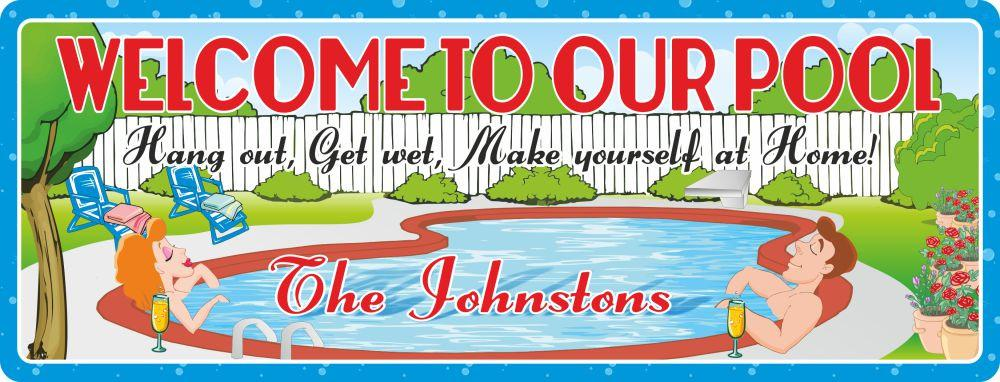 Personalized Welcome to Our Pool Sign with Relaxing Couple & Beautiful Backyard Scene