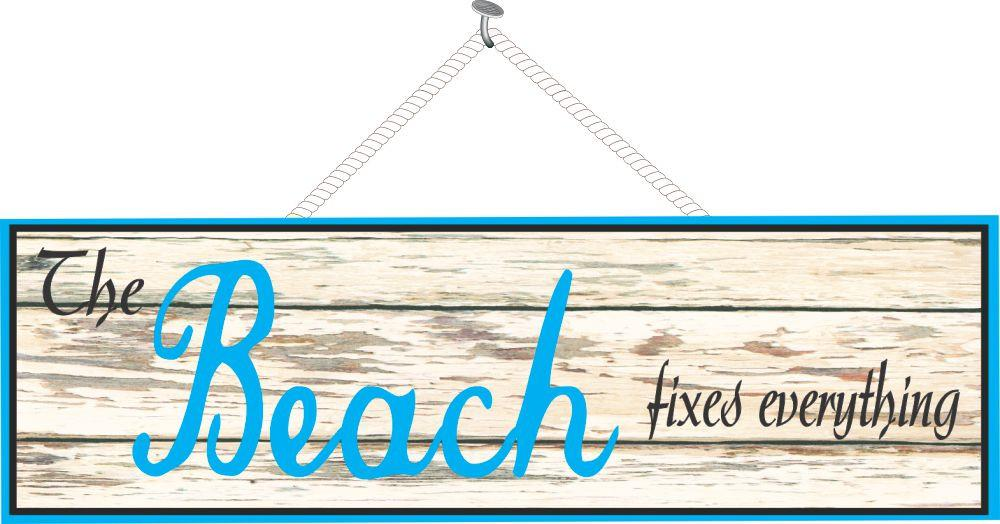 Distressed Wood Sign with Beach Quote