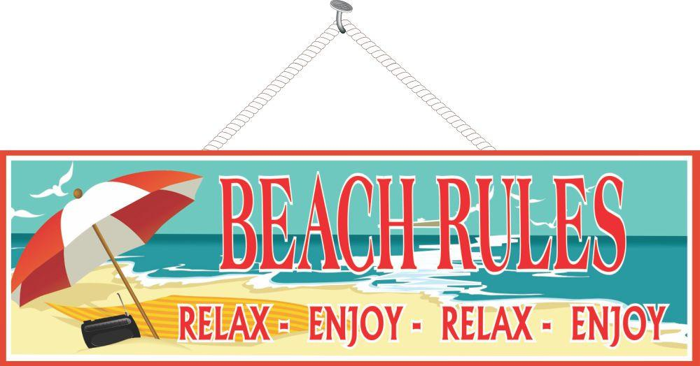 Beach Rules Novelty Sign with Radio