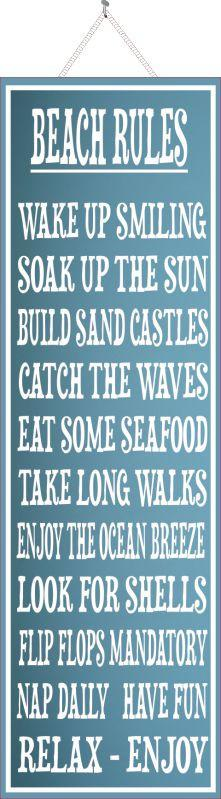 Beach Rules Sign in Light Blue with White Border and Inspirational Quotes