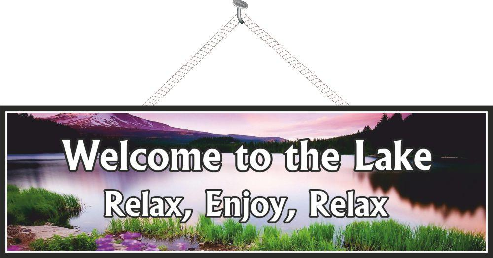 Tranquil Sunset Lake Sign in Purple