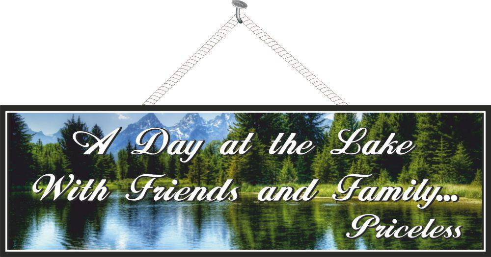 A Day at the Lake Inspirational Sign with Mountains & Forest Scene