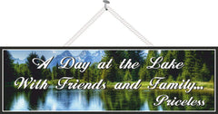 Gorgeous Lake Sign with Blue Mountains & Inspirational Quote
