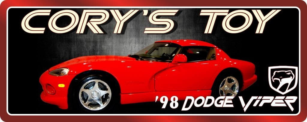 Red '98 Dodge Viper Car Sign with Black Background