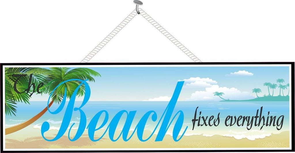 Inspirational Quote Sign with Beach Scene
