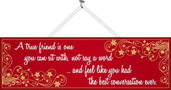 Red Friendship Quote Sign with Gold Flourishes