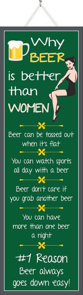 Women Versus Beer Funny Quote Sign in Dark Green with Pinup Girl