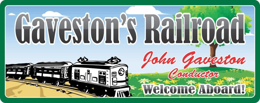 Lionel Railroad Train Sign with Green Border, Custom Name & Flower Covered Hill