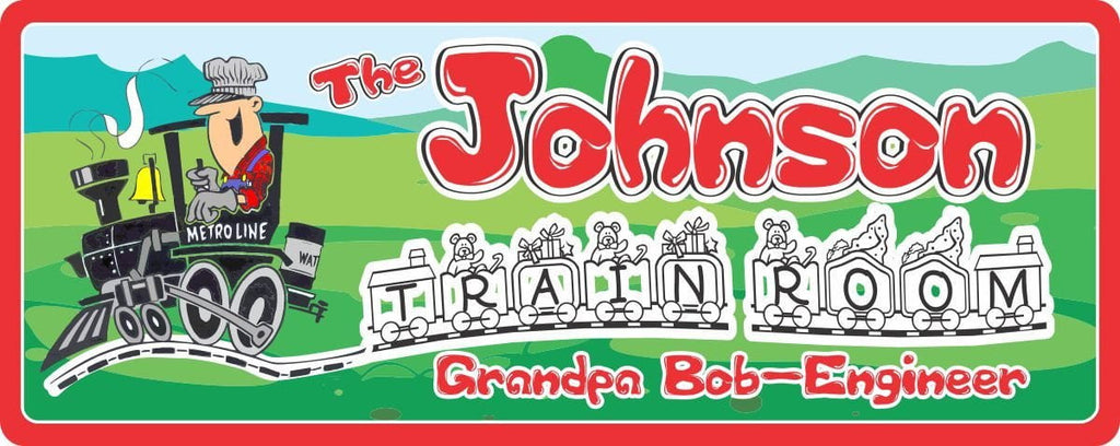 Train Engine & Conductor Personalized Sign with Red Name & Border