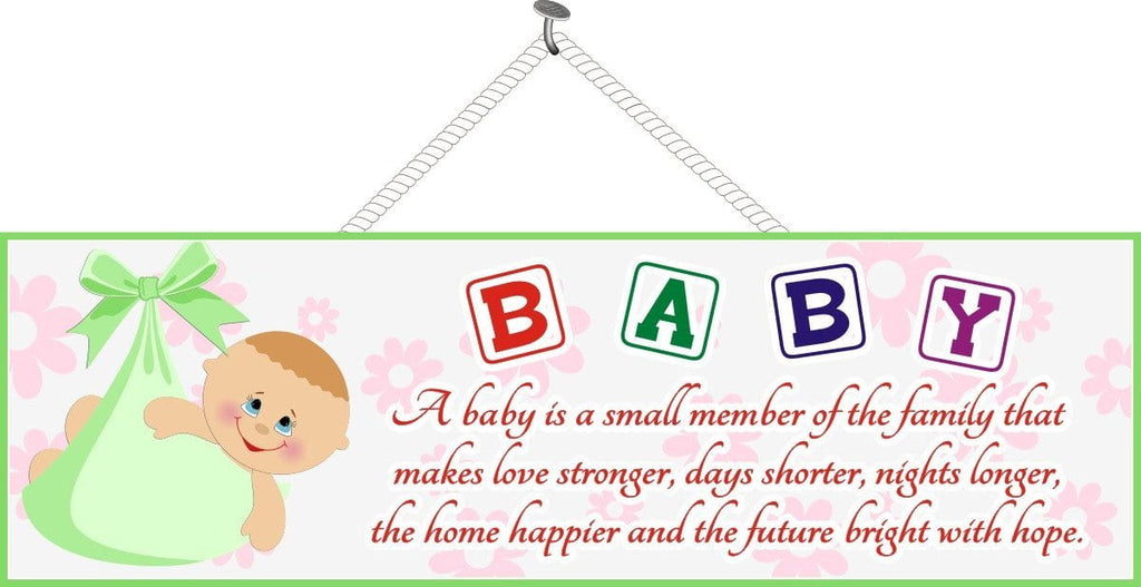 Baby Blocks Inspirational Quote Sign with Infant in Green Blanket