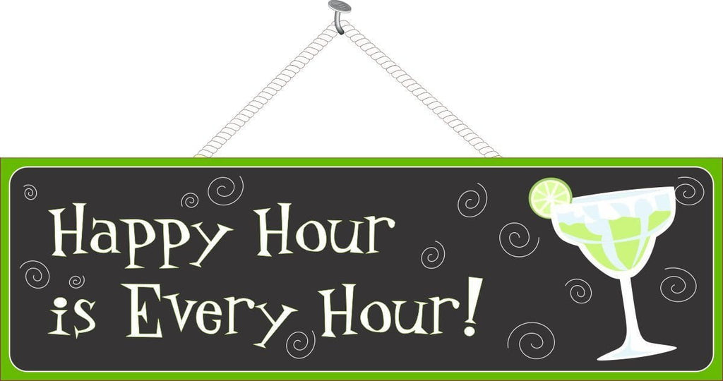 Funny Happy Hour Cocktail Sign with Lime Green Margarita