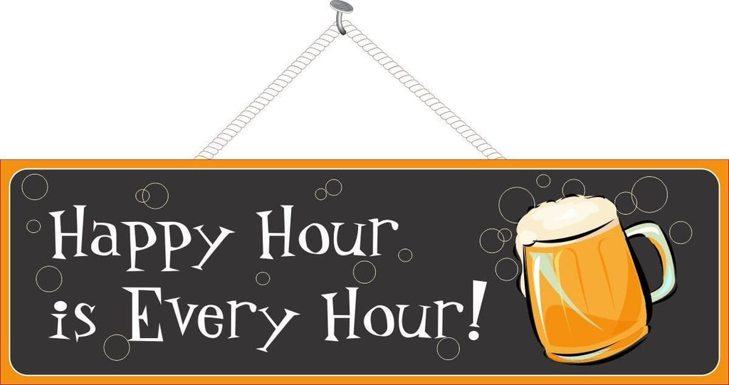 Happy Hour Sign with Beer Stein & Bubbles