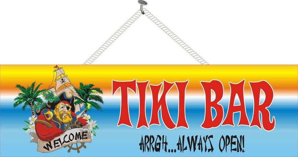 Tiki Bar Sign with Pirate Ship, Palm Trees & Funny Pirate Quote