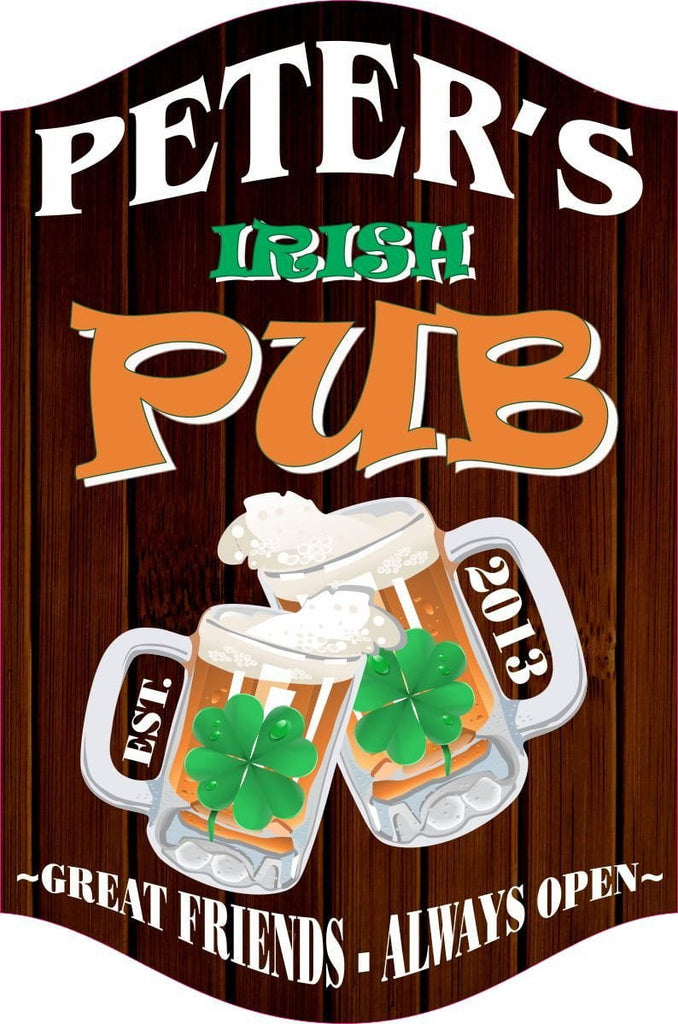 Wooden Background Irish Pub Sign with Beer Mugs & Clovers