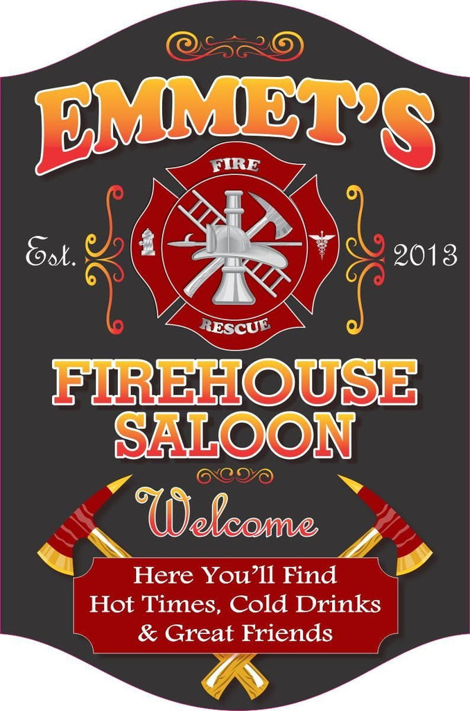 Firehouse Saloon Personalized Bar Sign in Black with Fire Rescue Emblem & Crossed Fire Axes