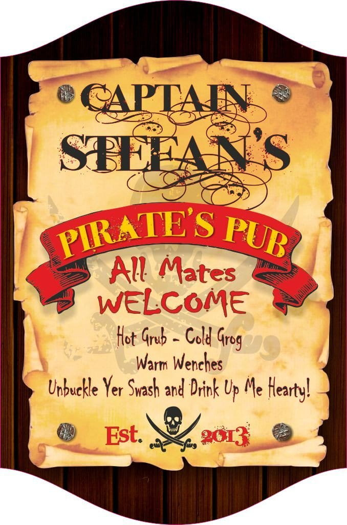 Pirate's Pub Personalized Bar Sign with Parchment Paper & Woodgrain Background