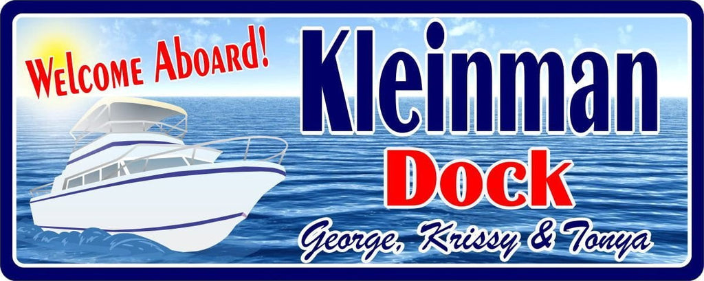 White Yacht Personalized Welcome Sign for Boat Dock