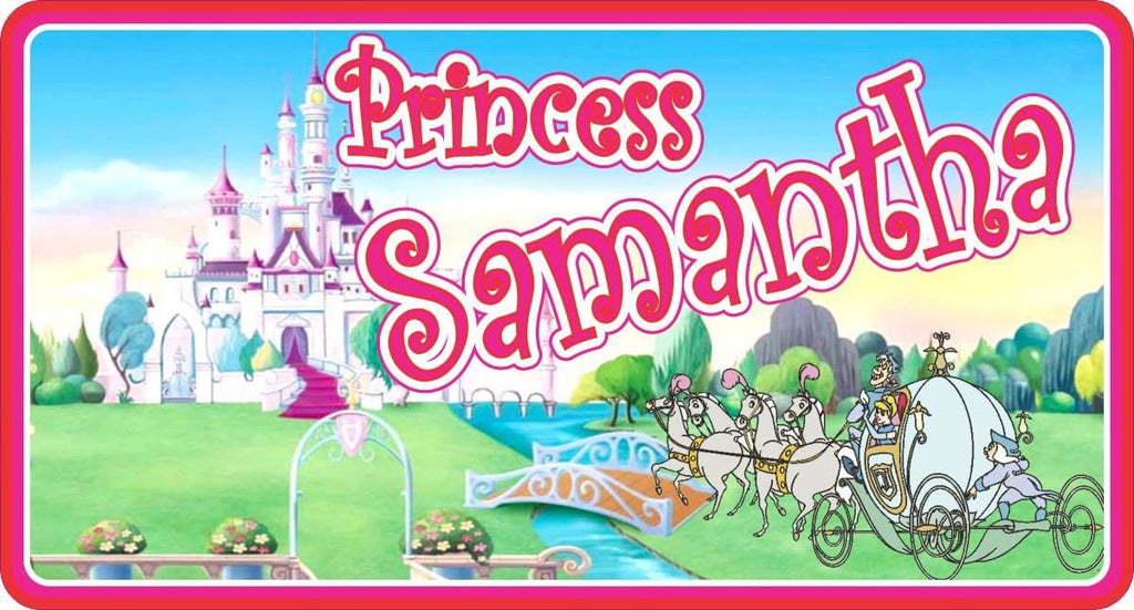 Pink Princess Fairytale Sign with Cinderella Carriage