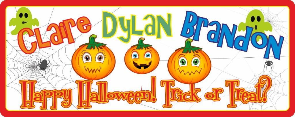 Fun Happy Halloween Personalized Sign with Pumpkins, Ghosts & Spider Web