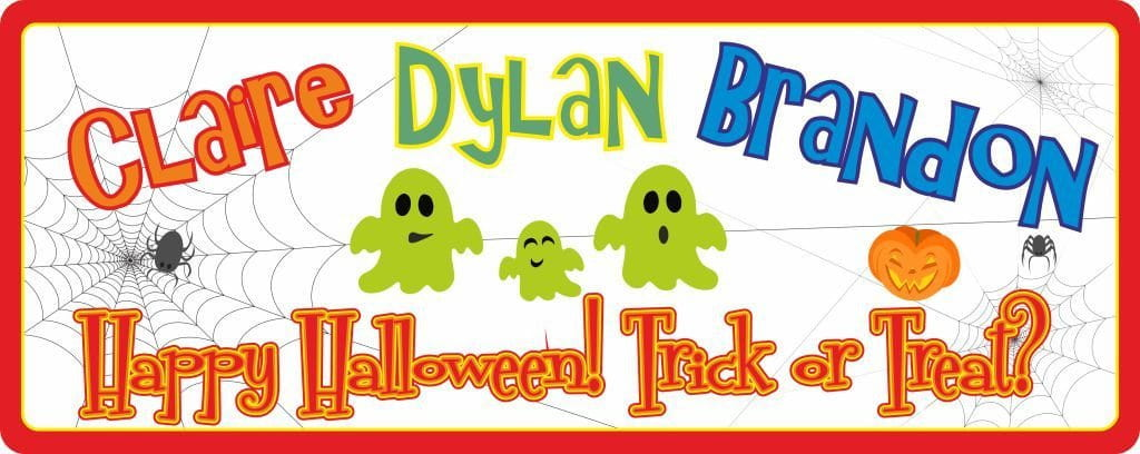 Colorful Happy Halloween Personalized Sign with Green Ghosts & Spider Web
