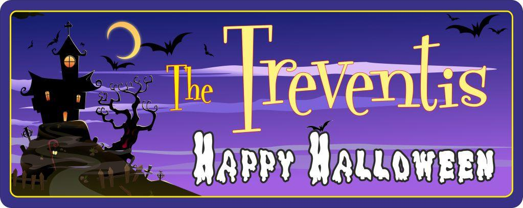 Spooky Haunted House Personalized Halloween Sign with Bats & Dark Purple Sky