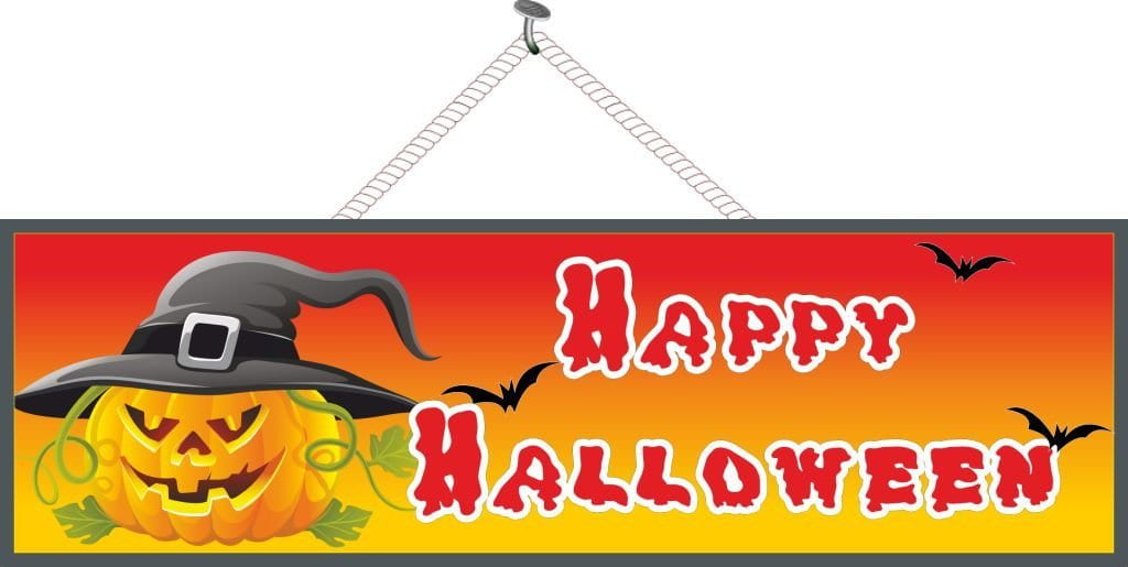 Pumpkin Happy Halloween Sign with Bats & Witch Hat