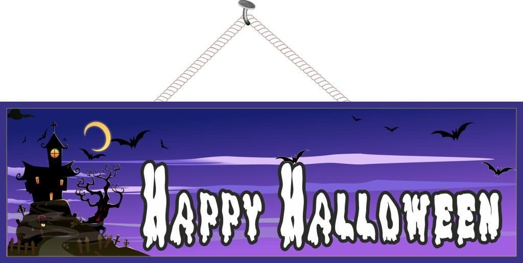 Haunted House Happy Halloween Sign in Purple